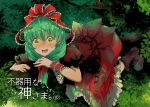 1girl boots bow branch dress frills front_ponytail green_eyes green_hair hair_bow hair_ribbon kagiyama_hina leaf mattie open_mouth ribbon solo sweat touhou translation_request