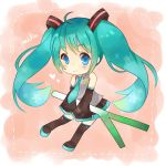 1girl ahoge blue_eyes boots character_name chibi detached_sleeves green_hair hatsune_miku long_hair necktie shirozakana skirt sleeves_past_wrists solo spring_onion thigh-highs thigh_boots twintails very_long_hair vocaloid