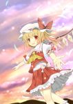 absurdres ascot blonde_hair blush bunchou_(bunchou3103) fang flandre_scarlet hat hat_ribbon highres outstretched_hand pointing red_eyes ribbon side_ponytail slit_pupils solo the_embodiment_of_scarlet_devil touhou wings