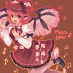 animal_ears black_eyes braid character_name dress earrings fingernails hat jewelry lgw7 long_fingernails mary_janes musical_note mystia_lorelei open_mouth pink_hair shoes short_hair single_braid single_earring solo thigh-highs thighhighs touhou wings
