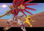 armor claws digimon digimon_savers fangs green_eyes horns kazkazkaz monster no_humans shinegreymon sword tail weapon