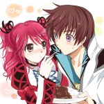 1girl asbel_lhant blue_eyes blush brown_eyes brown_hair character_request cheria_barnes couple feeding food hair_ribbon heterochromia kurimomo open_clothes plate purple_eyes red_hair redhead ribbon rice short_hair tales_of_(series) tales_of_graces twintails violet_eyes