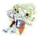 back-to-back bad_id blue_hair drill_hair galaxy_angel green_hair highres long_hair military military_uniform mint_blancmanche pantyhose ponytail red_eyes riyuko_(kaioushin) short_hair thigh-highs thighhighs uniform vanilla_h yellow_eyes