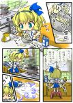 alice_margatroid alice_margatroid_(pc-98) baking birthday blonde_hair blue_eyes book bow bowl burning comic cooking dress egg hair_ornament hairband kitchen milk_carton pot red_star_(toranecomet) short_hair spilled_milk suspenders tears touhou touhou_(pc-98) translated translation_request young