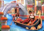 bare_shoulders blonde_hair blue_eyes boat breasts bridge building canal cleavage domino_mask dress flower gondola gown highres italy jewelry mask masquerade nardack necklace oar original outdoors pearl plant red_rose rose smile venice water