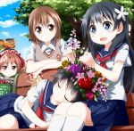 black_hair blue_eyes blush bow brown_eyes brown_hair flower hair_bow hair_flower hair_ornament head_wreath lap_pillow long_hair misaka_mikoto saten_ruiko school_uniform serafuku shirai_kuroko short_hair sitting skirt smile sweatdrop sweater_vest to_aru_kagaku_no_railgun to_aru_majutsu_no_index tsurukou_(tksymkw) twintails uiharu_kazari