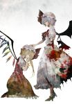 2girls amputee ascot bat_wings blonde_hair blood blood_on_face bloody_clothes blue_hair blue_man brooch commentary_request crying flandre_scarlet hand_on_head hat hat_ribbon jewelry kneeling multiple_girls puffy_sleeves remilia_scarlet ribbon shirt short_sleeves siblings side_ponytail silver_hair sisters skirt skirt_set standing torn_clothes torn_skirt touhou vest wings