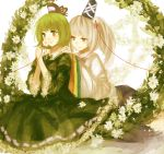 2girls absurdres dress flower gengentan green_dress green_eyes green_hair grey_eyes hair_flower hair_ornament hands_on_shoulders hat hat_ribbon highres long_sleeves mononobe_no_futo multiple_girls ponytail red_string ribbon shirt silver_hair sitting skirt smelling_flower smile soga_no_tojiko string touhou wide_sleeves yuri