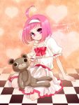 checkered choco_(rio) dress hairband heart hiyo_(hinauf) mint_clark pink_eyes pink_hair rio_-rainbow_gate!- short_hair solo stuffed_animal stuffed_toy super_blackjack teddy_bear