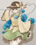 1girl blue_rose dress flower frills green_eyes grey_background hand_on_hat hands_in_sleeves hat hat_ribbon heart heart-shaped_pupils heart_of_string highres komeiji_koishi looking_at_viewer neon_(co2co8) ribbon rose shadow short_hair silver_hair skirt smile solo symbol-shaped_pupils thigh-highs third_eye touhou white_legwear wide_sleeves