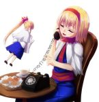 alice_margatroid alternate_hairstyle closed_eyes doll lo_(rogu_ryouiki) phone ponytail rotary_phone shanghai_doll solo touhou