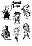 akali annie annie_hastur ashe ashe_(league_of_legends) chibi evelynn highres janna janna_windforce katarina katarina_(league_of_legends) katarina_du_couteau league_of_legends long_hair multiple_girls school_swimsuit school_uniform short_hair swimsuit