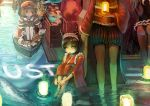 bad_id black_hair blonde_hair boat brown_eyes fish hairband hat horns japanese_clothes lantern letter love_letter original sakai_yoshikuni short_hair shorts sitting standing ustream water work_in_progress