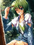 artist blue_eyes canvas_(object) forest forfreedo green_hair grin highres nature oekaki_musume original paintbrush pixiv shadow smile solo wink zipper