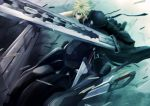 bad_id blonde_hair cloud_strife fenrir fenrir_(vehicle) final_fantasy final_fantasy_vii final_fantasy_vii_advent_children first_tsrugi goggles googles highres huge_weapon male motorcycle pochiharu rpg short_hair shoulder_pad shoulder_pads square-enix square_enix strap straps sunglasses sword vehicle video_games weapon