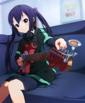 black_hair blush brown_eyes bun150 casual couch foreshortening guitar headphones headphones_around_neck instrument k-on! long_hair nakano_azusa shorts sitting smile solo sony twintails