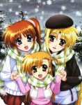 blonde_hair blue_eyes brown_hair casual coat family fate_testarossa hand_holding hat heterochromia highres holding_hands long_hair lyrical_nanoha mahou_shoujo_lyrical_nanoha mahou_shoujo_lyrical_nanoha_vivid megami mother_and_daughter okuda_yasuhiro pantyhose purple_eyes red_eyes scarf shared_scarf side_ponytail snow striped striped_scarf takamachi_nanoha vivio winter