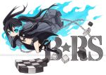 bikini_top black_hair black_rock_shooter black_rock_shooter_(character) blue_eyes boots chain chains checkered chibi coat gloves glowing glowing_eyes joanna_(mojo!) long_hair midriff myrollingstar scar shorts solo star traditional_media twintails watermark weapon