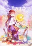 blue_eyes brown_hair butterfly flower highres long_hair oekaki_musume original oversized_object paint paintbrush purple_eyes russel_(yumeriku) solo stool sunflower twin_braids twintails
