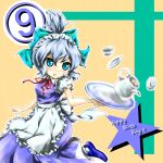 ? alternate_costume alternate_hairstyle apron blue_eyes blue_hair blush bow cirno cup dress dropping enmaided hair_bow izayoi_sakuya_(cosplay) maid open_mouth ponytail pot red_star_(toranecomet) ribbon saucer shoes short_hair solo touhou tray wings