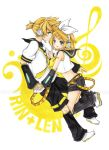 bass_clef blue_eyes brother_and_sister detached_sleeves hair_ornament hair_ribbon hairclip hand_holding headphones holding_hands joanna_(mojo!) kagamine_len kagamine_rin midriff myrollingstar necktie open_mouth ribbon short_hair shorts siblings smile traditional_media treble_clef twins vocaloid watermark