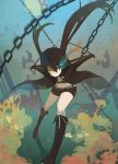 black_hair black_rock_shooter black_rock_shooter_(character) blue_eyes boots chain chains jacket minami-nyan shorts solo twintails