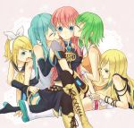aqua_hair blonde_hair blue_eyes boots detached_sleeves green_eyes green_hair gumi hair_ornament hair_ribbon hairclip harem hatsune_miku kagamine_rin kiss koma_(remi_398) lily_(vocaloid) long_hair megurine_luka multiple_girls open_mouth ribbon short_hair shorts sititng sitting skirt thigh-highs thigh_boots thighhighs twintails vocaloid yuri