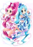 2girls ass blue_hair boots brown_eyes cure_blossom cure_marine green_eyes hanasaki_tsubomi heartcatch_precure! highres kim_(artist) kim_cheee kurumi_erika long_hair magical_girl mima_chi multiple_girls no_panties pink_eyes pink_hair ponytail precure thigh-highs thighhighs very_long_hair white_legwear white_thighhighs