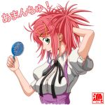 amanchu! asaruton brush dressing green_eyes mouth_hold ninomiya_ai pink_hair rubber_band rubberband school_uniform short_hair twintails