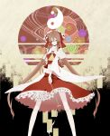 absurdres bell brown_hair detached_sleeves downcast_eyes gohei hair_tubes hakurei_reimu highres jingle_bell legs long_hair looking_down midriff red_eyes shinoi solo standing touhou very_long_hair wide_sleeves yin_yang