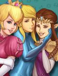 3girls blonde_hair blue_eyes brown_hair crown dress earrings gloves hands_on_face latex long_hair looking_at_viewer metroid multiple_girls nintendo pointy_ears ponytail princess_peach princess_zelda samus_aran skin_tight smile super_mario_bros. the_legend_of_zelda zero_suit