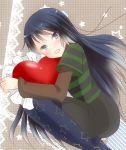 black_eyes black_hair blue_legwear casual heart hug k-on! long_hair megu_(littlestar) on_side pantyhose pillow print_legwear print_pantyhose star star_print striped