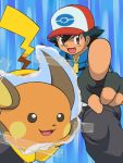 1boy black_hair gloves hat pikachu pokemon pokemon_(anime) raichu rairai-no26-chu satoshi_(pokemon)