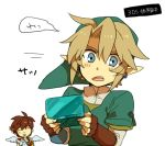 2boys angel blue_eyes brown_hair earrings electronic_entertainment_expo elf gloves hat jewelry kid_icarus link multiple_boys nintendo nintendo_3ds pit pit_(kid_icarus) pointy_ears smile super_smash_bros. super_smash_bros_brawl the_legend_of_zelda translation_request twilight_princess wings
