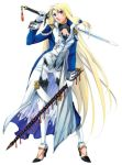 blue_eyes densetsu_no_yuusha_no_densetsu ferris_eris long_hair scabbard sheath sword very_long_hair weapon