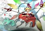 alternate_wings blonde_hair flandre_scarlet highres laevatein necktie open_mouth red_eyes short_hair side_ponytail smile solo the_embodiment_of_scarlet_devil touhou translated weapon wings yoshino_ryou