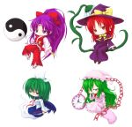 bow capelet chain chains chibi clock flower ghost ghost_tail green_eyes green_hair hair_bow hakurei_reimu hakurei_reimu_(pc-98) hat headband highres kazami_yuuka kazami_yuuka_(pc-98) kirisame_marisa kirisame_marisa_(pc-98) knife mima multiple_girls mystic_square nightcap nightgown ofuda pillow ponytail purple_eyes purple_hair red_eyes red_hair reg_(artist) sailor_collar sandals sitting tabi touhou touhou_(pc-98) wink witch witch_hat yawning yin_yang youkai