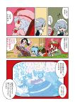 chen cirno comic excercise exercise hair_up hat hong_meiling inaba_tewi izayoi_sakuya karaagetarou patchouli_knowledge remilia_scarlet sweat television touhou track_suit translated translation_request