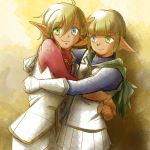 1boy 1girl :3 ahoge androgynous aura_bella_fiora bangs blonde_hair blue_eyes blunt_bangs brother_and_sister brown_gloves cape crossdressing gloves green_cape green_eyes hair_between_eyes heterochromia hug jewelry k-ta long_sleeves looking_at_viewer mare_bello_fiore necklace overlord_(maruyama) pants pleated_skirt pointy_ears short_hair siblings skirt smile trap twins white_gloves white_pants