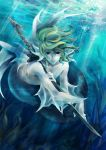 alexa_pasztor green_hair head_fins katana lexi lexi_nyanko male merman monster_boy solo sword tsubasa_chronicle underwater weapon