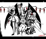 glyph hong_meiling izayoi_sakuya knife monochrome nabeshima_tetsuhiro patchouli_knowledge pose red_eyes remilia_scarlet skull smile spot_color thighhighs throne throwing_knife tongue touhou tray weapon wings