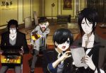 4boys alois_trancy black_hair blonde_hair blue_eyes book casual ciel_phantomhive claude_faustus contemporary eyepatch film_set food fourth_wall hat highres kuroshitsuji male multiple_boys obentou official_art red_eyes sebastian_michaelis yellow_eyes
