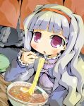 caraduki carazuki chopsticks dress eating egg food hairband idolmaster long_hair noodles purple_eyes ramen shijou_takane silver_hair violet_eyes