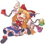 blonde_hair bow chain chains emu_(toran) food food_in_mouth gourd hair_bow horns ibuki_suika long_hair open_mouth orange_hair red_eyes ribbon running solo touhou wink