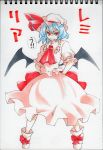 bat_wings blue_hair character_name fang frills hat pose red_eyes remilia_scarlet solo touhou traditional_media uousa wings