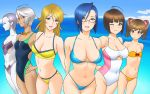 ahoge alien bikini blonde_hair blue_hair breasts brown_hair cleavage clouds collarbone dark_skin everyone flat_chest ginga_tetsudou_999 glasses googles green_eyes harada_makoto large_breasts lipstick makeup misaki_yuria mori_yuki niimi_kaoru ocean red_eyes short_hair sky smile swimsuit twintails uchuu_senkan_yamato uchuu_senkan_yamato_2199 violet_eyes white_hair wink