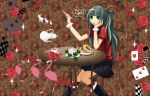 animal_ears antlers blue_eyes card chair flamingo food fork green_hair hand_on_face hatsune_miku kneesocks pleated_skirt rose sitting sparkle table tea teacup teapot twintails vocaloid wrist_cuffs