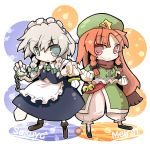 braid chibi china_dress chinese_clothes grey_eyes hat hong_meiling izayoi_sakuya knife long_hair maid maid_headdress multiple_girls pocket_watch pose red_eyes red_hair redhead short_hair silver_hair take_tonbo the_embodiment_of_scarlet_devil throwing_knife touhou twin_braids watch weapon