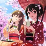 brown_hair cherry_blossoms closed_eyes copyright_request cup dango eating eyes_closed flower food food_on_face hair_flower hair_ornament hanami heart japanese_clothes kimono mochi multiple_girls oriental_umbrella oryou parasol petals sakura_mochi smile spring spring_(season) tree umbrella wagashi