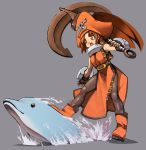 brown_eyes brown_hair dolphin fang fingerless_gloves gloves guilty_gear hat may may_(guilty_gear) pantyhose pirate pirate_hat skull_and_crossbones yskysk